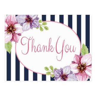 花の水彩画は紫色の花感謝していしています ポストカード