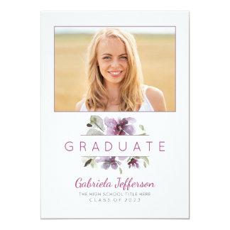 花の水彩画-写真の卒業パーティー 12.7 X 17.8 インビテーションカード