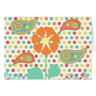 花の水玉模様のペイズリーの春のお洒落なギフト カード
