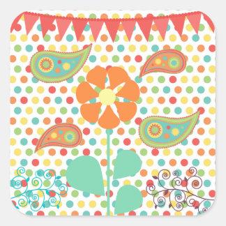 花の水玉模様のペイズリーの春のお洒落なギフト スクエアシール