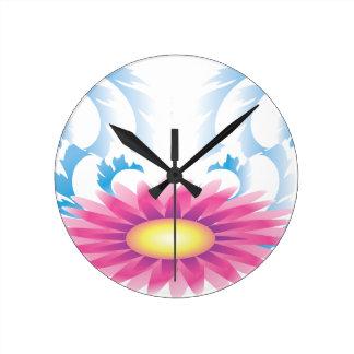 花の波 ラウンド壁時計