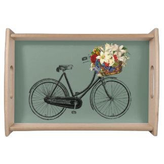 花の海の泡の緑の皿が付いている自転車 トレー