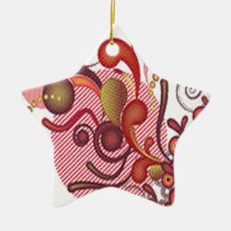 花の渦巻のデザイン 陶器製星型オーナメント