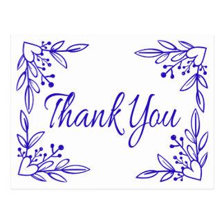 花の濃紺のコバルトはハートの結婚感謝していしています ポストカード