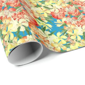 花の熱帯オレアンダーの花の包装紙 ラッピングペーパー