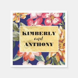 花の熱帯ビーチ海軍および金ゴールドの結婚 スタンダードカクテルナプキン