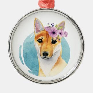 花の王冠の水彩画の絵画の柴犬 メタルオーナメント