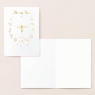 花の王冠を持つ金ゴールドの蜂蜜の蜂 箔カード