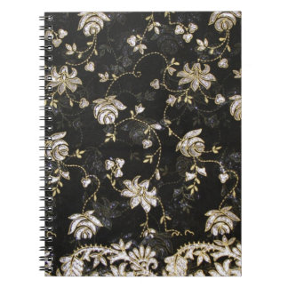 花の生地の織物のデザイン ノートブック