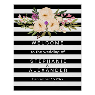 花の白黒ストライプのな結婚式ポスター ポスター