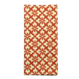 花の着物のプリント、マンダリンオレンジ ナプキンクロス