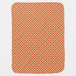 花の着物のプリント、マンダリンオレンジ ベビー ブランケット