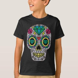 花の砂糖のスカルのHanesカラフルなTAGLESSのTシャツ Tシャツ