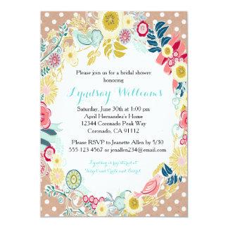 花の素朴なブライダルシャワーの招待状 カード