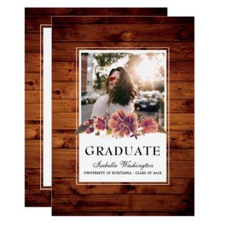 花の素朴な納屋の木製の写真の卒業パーティー 12.7 X 17.8 インビテーションカード