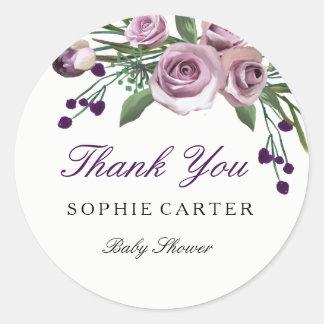 花の紫色のバラのベビーシャワーはステッカー感謝していしています ラウンドシール