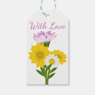 花の紫色愛白いデイジーの黄色のヒマワリ ギフトタグ