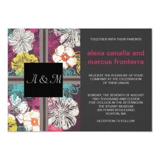 花の組合せのモノグラムの結婚式招待状 カード