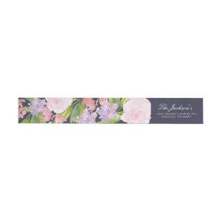 花の結婚式の住所リターンラベル ラップアラウンドラベル