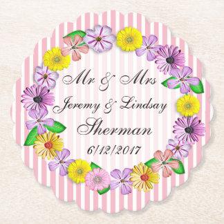 花の結婚式の名前入りなカスタムの紙のコースター ペーパーコースター