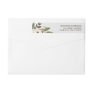 花の結婚式の小枝の差出人住所ラベル ラップアラウンド返信用宛名ラベル