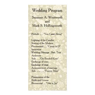 花の結婚式プログラム、織物、ヴィンテージ、庭 ラックカード