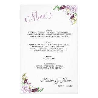 花の結婚式メニュー|紫色 便箋