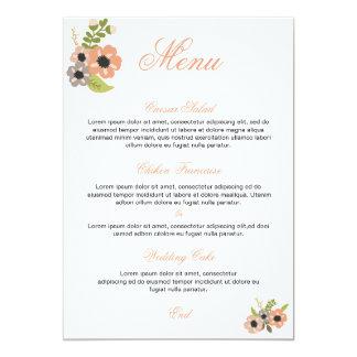 花の結婚式メニュー 12.7 X 17.8 インビテーションカード