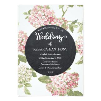 花の結婚式招待状のアイボリーの黒板 カード