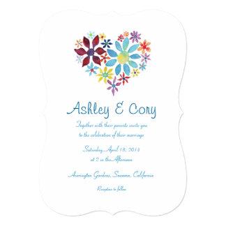 花の結婚式招待状のハート 12.7 X 17.8 インビテーションカード