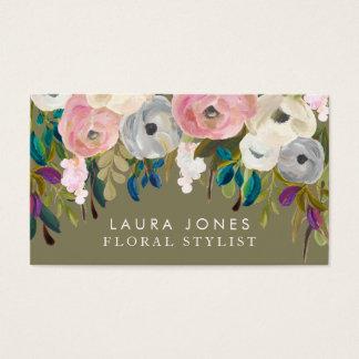 花の絵画の花屋のスタイリストの名刺 名刺
