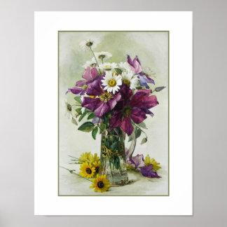 花の絵画。 ポールde Longpre?。 ファインアートのプリント ポスター