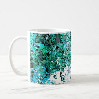 花の緑の渦巻デザイナーマグ コーヒーマグカップ