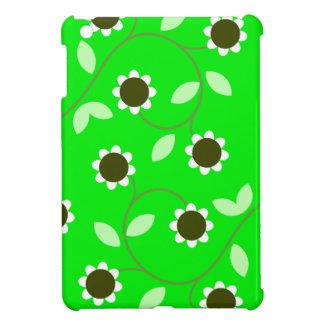 花の緑パターン iPad MINIケース