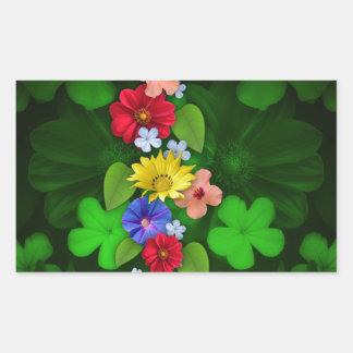 花の緑項目 長方形シール