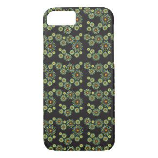 花の背景が付いている黒いiPhone 7の箱 iPhone 8/7ケース