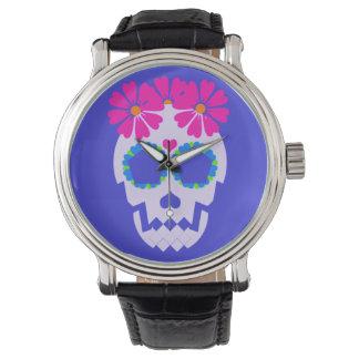 花の腕時計が付いているスカル 腕時計