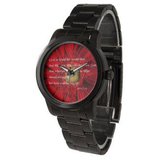 花の腕時計上の聖書の詩のジョンの3:16 腕時計