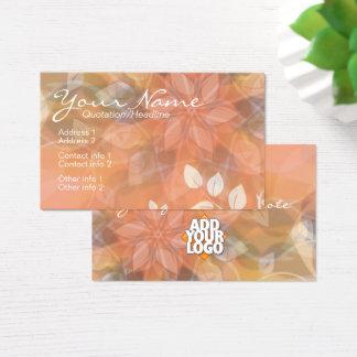花の自然のオレンジ + ロゴの名刺のテンプレート 名刺