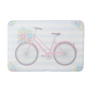花の自転車のかわいいおもしろいのヒップスターのピンクの青いバス・マット バスマット