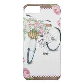 花の自転車の木のヴィンテージの素朴な電話箱 iPhone 8/7ケース