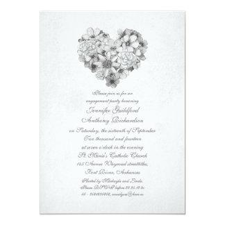 花の花のハートのヴィンテージの婚約パーティ カード