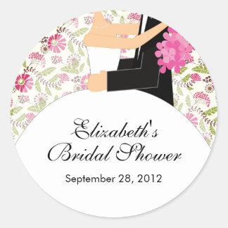花の花嫁の新郎のブライダルシャワーのステッカーのピンク ラウンドシール