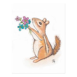 花の花束が付いているシマリス ポストカード