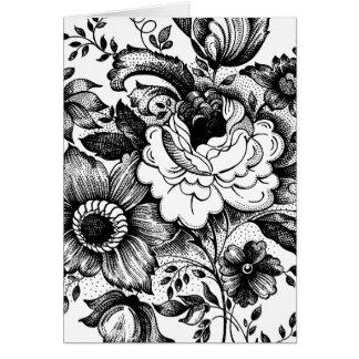 花の花束の白黒の花のダマスク織のスタイル カード