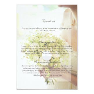 花の花束の結婚式の美しい花嫁 12.7 X 17.8 インビテーションカード