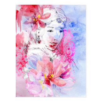 花の花束を持つ美しい女の子 ポストカード