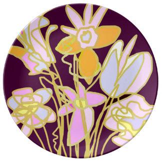 花の花束 磁器 皿