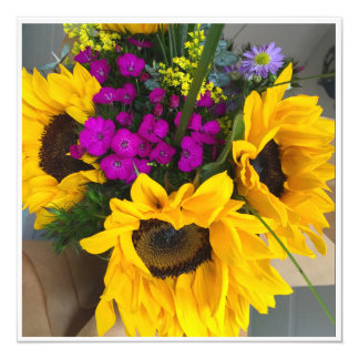 花の花束 13.3 スクエアインビテーションカード