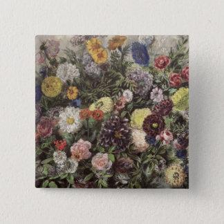 花の花束 5.1CM 正方形バッジ